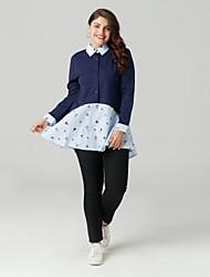 cheap -Women's Basic Cotton Shirt - Color Block Patchwork Shirt Collar
