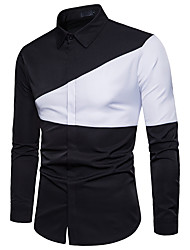 cheap -Men's Daily Work Business / Basic Shirt - Color Block Black