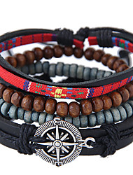 cheap -Men's Wrap Bracelet Leather Bracelet Braided Star Vintage European Fashion Leather Bracelet Jewelry Black For Daily