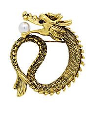 cheap -Men's Cubic Zirconia Freshwater Pearl Brooches Vintage Style Stylish Dragon Creative Statement Hip-Hop Chinoiserie Pearl Brooch Jewelry Gold Silver For Daily Work