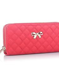 cheap -Women's Zipper PU Leather Wallet Black / Red / Blushing Pink