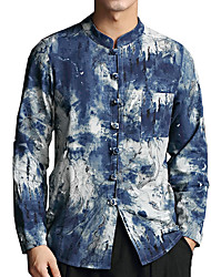 cheap -Men's Daily Going out Linen Shirt - Color Block Blue / Stand / Long Sleeve / Fall