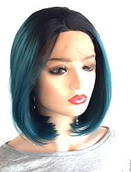 cheap -Synthetic Lace Front Wig Cosplay Wig Straight Bob Middle Part Lace Front Wig Ombre Short Black / Blue Synthetic Hair 10-14 inch Women's Heat Resistant Women Middle Part Bob Ombre / Glueless