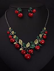 cheap -Women's Hoop Earrings Bib necklace Stylish Cuban Leaf Cherry Ladies Stylish Sweet Elegant Earrings Jewelry Silver For Birthday Gift