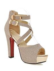cheap -Women's Sandals Chunky Heel PU Comfort Spring & Summer Black / Gold / Silver / EU39