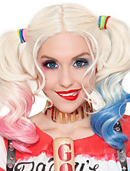 cheap -Cosplay Costume Wig Synthetic Wig Cosplay Wig Harley Quinn Curly Bob Wig Pink Long White Synthetic Hair 28 inch Women's Fashionable Design Cosplay Color Gradient Blue Pink