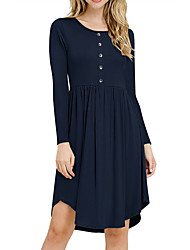 cheap -Women's Daily Basic A Line Dress - Solid Colored Spring Black Wine Blue S M L XL