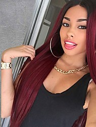 cheap -Synthetic Wig Straight Middle Part Wig Burgundy Long Black / Dark Wine Synthetic Hair 24 inch Women's Heat Resistant Ombre Hair Burgundy