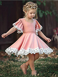 cheap -Baby Girls' Chinoiserie Daily / School Solid Colored Lace Short Sleeve Knee-length Cotton Dress Blushing Pink / Toddler