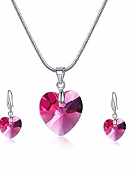 cheap -Women's Crystal Drop Earrings Pendant Necklace Stylish Snake Heart Ladies Stylish Sweet Elegant For Mother / Mom Austria Crystal Earrings Jewelry Pink For Party Festival