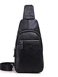 cheap -Men's Zipper Cowhide Sling Shoulder Bag Black / Brown / Coffee