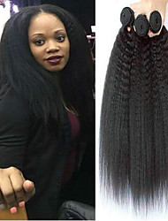 cheap -3 Bundles Brazilian Hair Yaki Human Hair Headpiece Natural Color Hair Weaves / Hair Bulk Extension 8-28 inch Black Natural Color Human Hair Weaves Silky Smooth Best Quality Human Hair Extensions / 8A