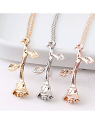 cheap -Women's Pendant Necklace Chain Necklace Vintage Style Trace Roses Ladies Stylish Vintage Romantic Alloy Rose Gold Gold Silver 51 cm Necklace Jewelry 1pc For Date Work