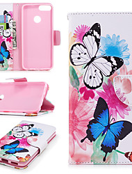 cheap -Case For Huawei Huawei P smart Wallet / Card Holder / with Stand Full Body Cases Butterfly Hard PU Leather