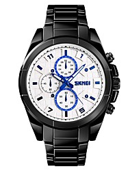 cheap -SKMEI Men's Couple's Sport Watch Dress Watch Quartz Oversized Stainless Steel Black / Silver / Gold 50 m Water Resistant / Waterproof Cool Large Dial Analog Luxury Classic Fashion - Black / Blue