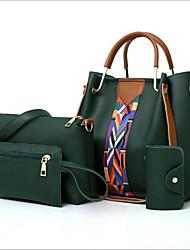 cheap -Women's Zipper PU Bag Set Bag Sets 4 Pieces Purse Set Black / Brown / Light Grey