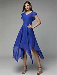 cheap -Back To School A-Line Chic & Modern Cute Cocktail Party Dress V Neck Short Sleeve Asymmetrical Chiffon with Pleats 2020 Hoco Dress