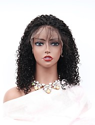 cheap -Remy Human Hair Lace Front Wig Asymmetrical Rihanna style Brazilian Hair Afro Curly Black Wig 150% Density with Baby Hair Women Easy dressing Sexy Lady Natural Women's 8-14 Human Hair Lace Wig PERFE