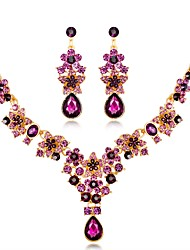 cheap -Women's Sapphire Drop Earrings Statement Necklace Long Ladies Unique Design Rhinestone Silver Plated Earrings Jewelry Purple / Red / Blue For Wedding Evening Party