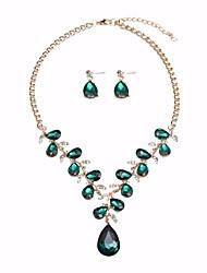 cheap -Women's Crystal Drop Earrings Hoop Earrings Statement Necklace Vintage Style Byzantine Leaf Pear Statement Ladies Vintage European Earrings Jewelry Gray / Green / Blue For Party Ceremony