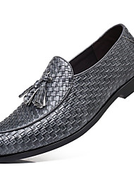cheap -Men's Loafers & Slip-Ons Dress Shoes British Party & Evening Office & Career Faux Leather Wine Black Gray Fall Spring / Tassel