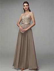 cheap -A-Line Jewel Neck Floor Length Chiffon Elegant / Beaded & Sequin Formal Evening Dress with Beading 2020