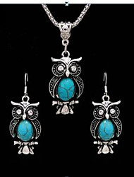 cheap -Women's Turquoise Vintage Necklace Retro Animal Ladies Vintage Earrings Jewelry Light Black / Red / Blue For Gift Daily