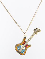 cheap -Women's Crystal Pendant Necklace Charm Necklace Vintage Style Long Music Guitar Ladies Classic Fashion Rhinestone Alloy Bronze 68 cm Necklace Jewelry 1pc For Party / Evening Gift
