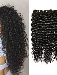 Недорогие -3 Связки Крупные кудри Натуральные волосы Необработанные натуральные волосы 300 g Человека ткет Волосы Удлинитель Пучок волос 8-28 дюймовый Естественный цвет Ткет человеческих волос / 8A