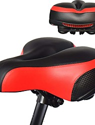 cheap -Bike Saddle / Bike Seat Extra Wide / Extra Large Comfort Cushion PU Leather Silica Gel Cycling Road Bike Mountain Bike MTB Black Red Blue