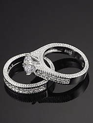 cheap -Women's Ring AAA Cubic Zirconia 1pc Silver Alloy Circle Ladies Luxury European Wedding Evening Party Jewelry Vintage Style Solitaire Round Cut Tower Creative