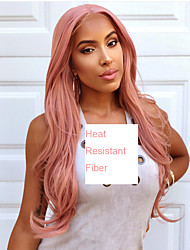 cheap -Synthetic Lace Front Wig Cosplay Wig Wavy Middle Part Lace Front Wig Pink Long Rose Gold Synthetic Hair 22-26 inch Women's Heat Resistant Women Middle Part Pink / Glueless / For Black Women