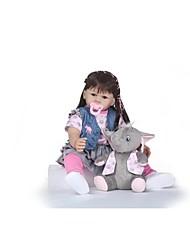 cheap -NPKCOLLECTION NPK DOLL Reborn Doll Girl Doll Baby Girl 24 inch lifelike Cute Artificial Implantation Brown Eyes Kid's Girls' Toy Gift