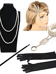 cheap -The Great Gatsby Charleston Vintage 1920s Roaring Twenties Costume Accessory Sets Flapper Headband Women's Costume Head Jewelry Pearl Necklace Slave Bracelet Cigarette Holder Black / Golden+Black