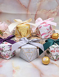 cheap -Rectangular Card Paper Favor Holder with Ribbons Favor Boxes - 12pcs