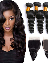 cheap -3 Bundles with Closure Indian Hair Loose Wave Human Hair 335 g Headpiece Extension Bundle Hair 8-24 inch Black Natural Color Human Hair Weaves Soft Silky Best Quality Human Hair Extensions / 8A