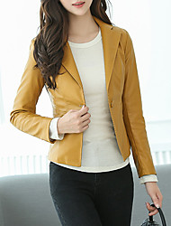 cheap -Women's Notch lapel collar Faux Leather Jacket Short Solid Colored Daily Black Yellow S M L XL / Work