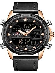 cheap -NAVIFORCE Men's Sport Watch Military Watch Japanese Japanese Quartz 30 m Water Resistant / Water Proof Alarm Calendar / date / day Genuine Leather Band Analog Digital Luxury Fashion Black / Brown -