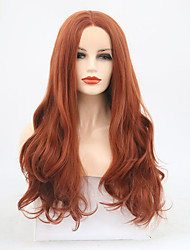 cheap -Synthetic Lace Front Wig Wavy Middle Part Lace Front Wig Long Auburn Synthetic Hair 22-24 inch Women's Adjustable Heat Resistant Brown
