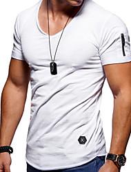 abordables -Tee-shirt Grandes Tailles Homme, Couleur Pleine - Coton Sports Col Arrondi Mince Gris / Manches Courtes