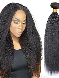 Недорогие -3 комплекта с закрытием Индийские волосы Вытянутые Натуральные волосы Человека ткет Волосы Удлинитель Пучок волос 8-28 дюймовый Естественный цвет Ткет человеческих волос / 8A