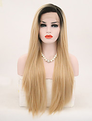cheap -Synthetic Lace Front Wig Straight Side Part Lace Front Wig Blonde Long Black / Blonde Synthetic Hair 18-24 inch Women's Adjustable Heat Resistant Party Blonde