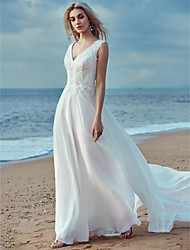 cheap -A-Line Wedding Dresses V Neck Sweep / Brush Train Chiffon Lace Regular Straps Cutouts with Lace 2020