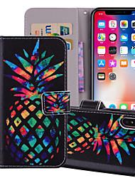 Недорогие -Кейс для Назначение Apple iPhone X / iPhone 8 Pluss / iPhone 8 Кошелек / Бумажник для карт / со стендом Чехол Продукты питания / Фрукты Твердый Кожа PU