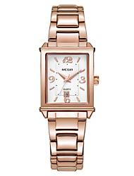 cheap -MEGIR Women's Dress Watch Wrist Watch Square Watch Japanese Quartz Copper Silver / Rose Gold 30 m Water Resistant / Waterproof Calendar / date / day Cool Analog Ladies Fashion Elegant - Silver Rose