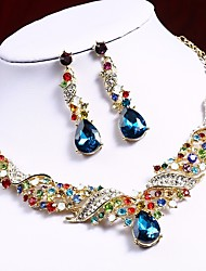 cheap -Women's Cubic Zirconia High End Crystal Drop Earrings Bib necklace Stylish Hollow Out Pear Cut Drop Wave Ladies Stylish Sweet Elegant Indian Color Resin Rhinestone Earrings Jewelry Rainbow / Red