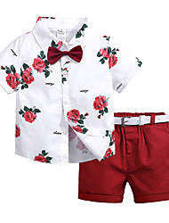 cheap -Kids Toddler Boys' Street chic Daily School Polka Dot Floral Print Short Sleeve Regular Cotton Clothing Set White