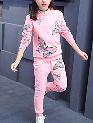 cheap -Kids Girls' Active Street chic Daily Sports Butterfly Print Print Long Sleeve Regular Clothing Set Blushing Pink