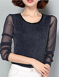 cheap -Women's Daily Work Basic / Street chic T-shirt - Solid Colored Mesh Black