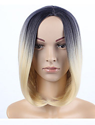 cheap -Synthetic Wig Straight Middle Part Wig Black / Blonde Ombre Medium Length Black / Strawberry Blonde Synthetic Hair 12 inch Women's Women Ombre Hair Middle Part Black / Blonde Ombre